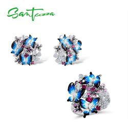 SANTUZZA Jewelry Set For Woman 925 Sterling Silver HANDMADE Colorful Enamel Blue Butterfly CZ Ring Earrings Set Fashion Jewelry