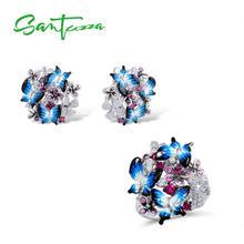 SANTUZZA комплект ювелирных изделий ручной работы красочная Эмаль Бабочка CZ камень кольцо серьги 925 пробы серебро для женщин модные украшения