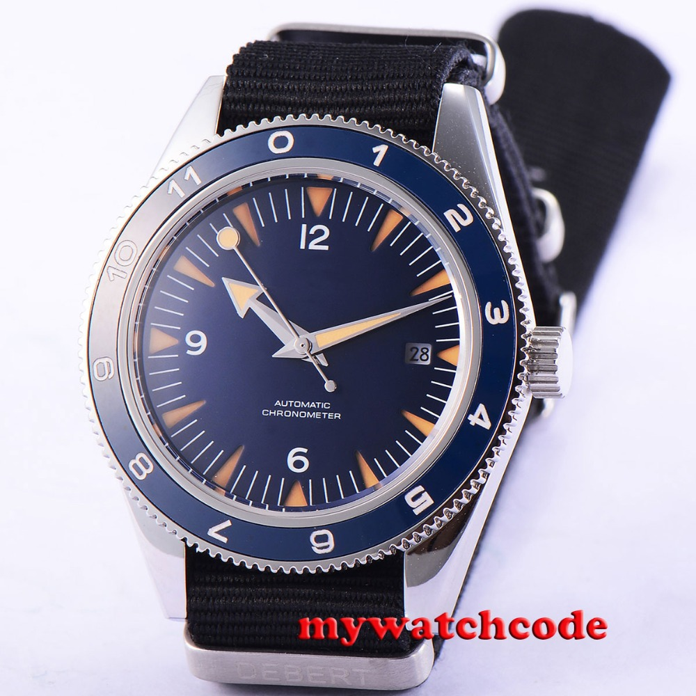 41mm debert blue sterile dial date sapphire glass miyota Automatic mens Watch 86 цена и фото