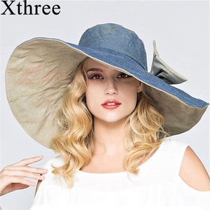 Xthree reversible summer hat for women Superlarge brim Beach cap sun hat female England Style(China)