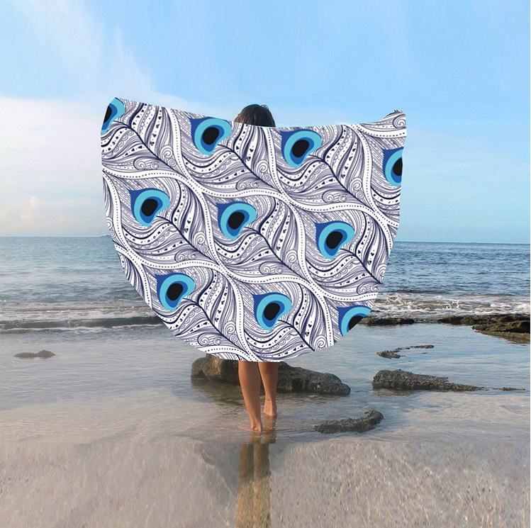 Manufacturers Direct European And American Style Round Bath Towel Shawl Sunscreen Digital Printing Beach Towel St06-27