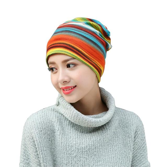 29647df6bbdc3 Women s Fashion Turban Hat Autumn Winter New Arrival Warm Headdress Caps  Colorful Striped Scarf Work Out