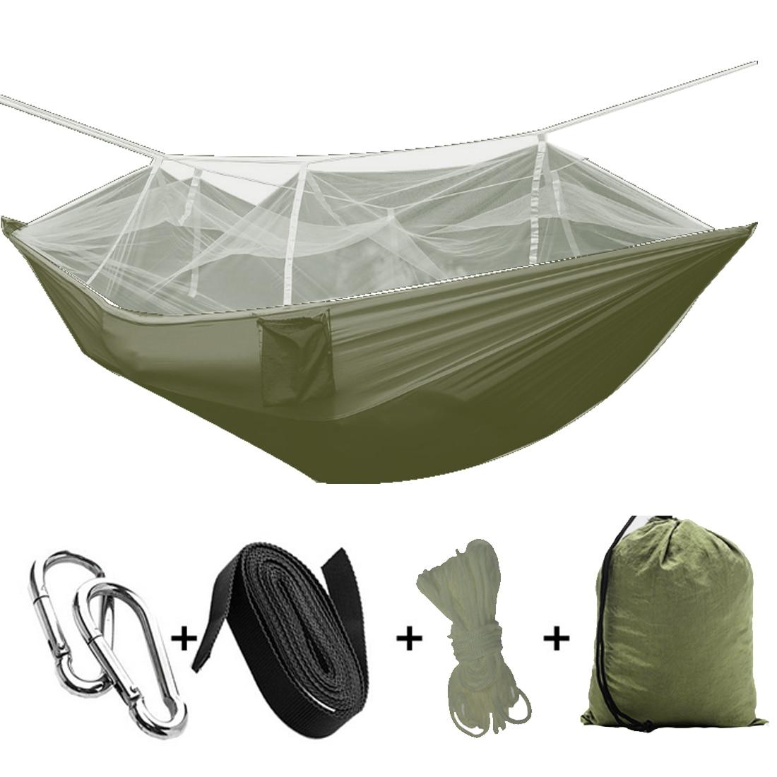 260x140cm Portable Parachute Fabric Camping Hammock Hanging Bed With Mosquito Net Sleeping Hammock outdoor hammock