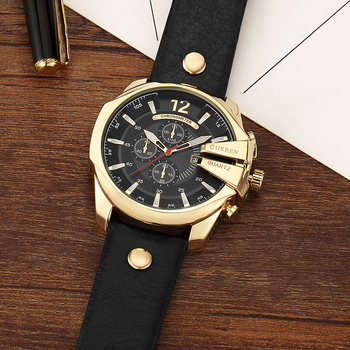 CURREN Men's Top Brand Luxury Leather Chronograph Calendar Date Display Quartz Watches 1