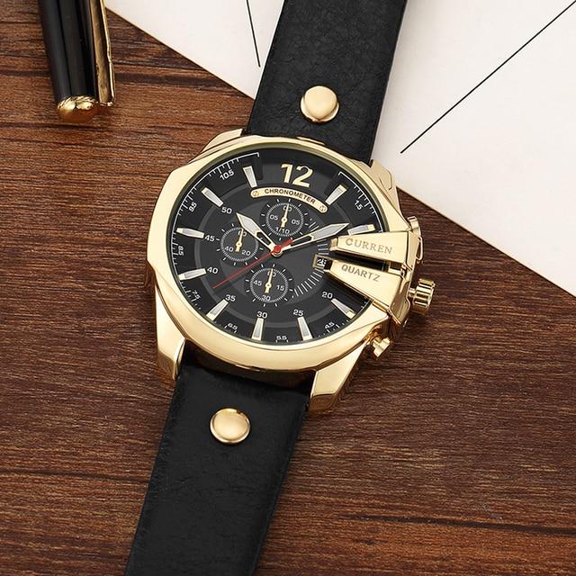 CURREN Men's Top Brand Luxury Leather Chronograph Calendar Date Display Quartz Watches 1