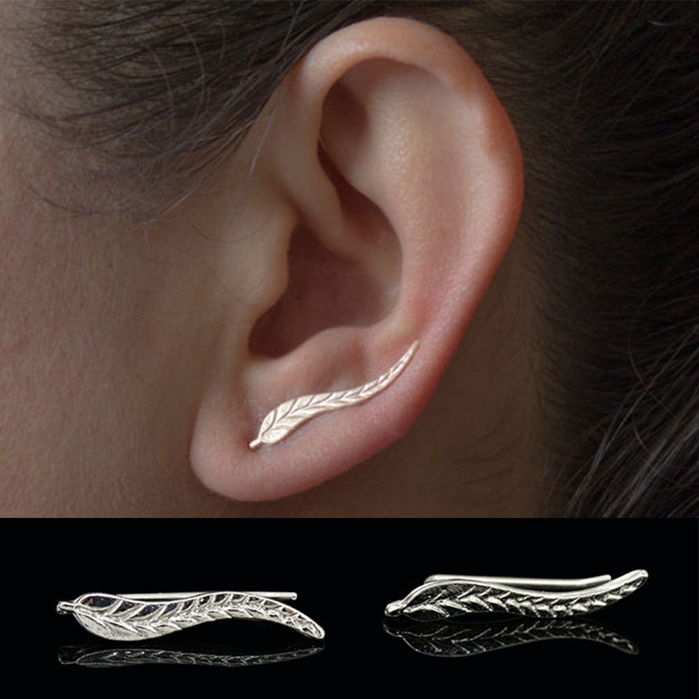 KISSWIFE Fashion Personality Metal Leaf Simple Ear Sweep Wrap Silver Gold Color Ear Climber Leafs Ear Clip Cuffs Earrings For Wo