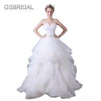 Gsbridal Милая органзы атласная юбка с оборками и жесткий тюль границы романтическая свадебное платье
