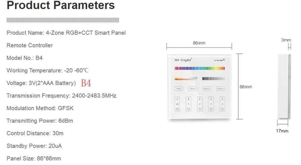 Milight B0 B1 B2 B3 B4 B8 4-Zone 8 Zone 2,4 GHz беспроводная wifi Сенсорная панель диммер/RGBW/RGB + CCT светодиодный умный пульт дистанционного управления