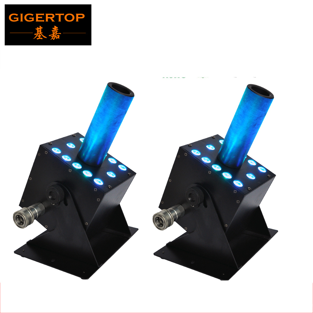 By Fedex 2pcs/lot Multi Angle Led Co2 Machine DMX 512 Control 12*3W RGB Leds Support Gas In/Out Series Connection AC100V 220V