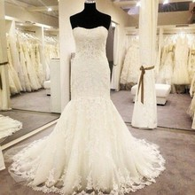 Free Shipping New Fashion High Quality Mermaid Strapless Sweep Train Real Fishtail Wedding Gown Bride Dress With Appliques MF384