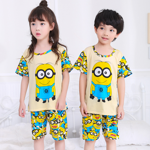 Cartoon Children Short Sleeve Pajamas 2019 Boy Girl Spring Summer Sleepwear Baby Nightwear Child Gift Kids Lovely Pyjamas Set
