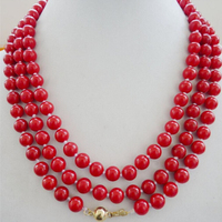 Beautiful 8mm red coral Round beads necklace 48 Factory Wholesale price Women Gift word Jewelry