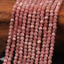 2mm 3mm Natural Round Faceted Rhodochrosite Stone Pink Gemstone Loose Beads DIY Accessories for Jewelry Necklace Bracelet Making цены онлайн
