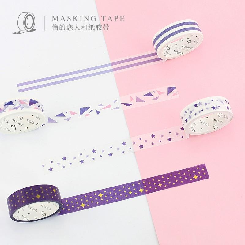 4 Mix Designs/Pack Basic Deco Washi Tape Japanese Rainbow Masking Tapes Cute Sticker Scrapbooking Diary Planner Masking Tape triangle masking tape