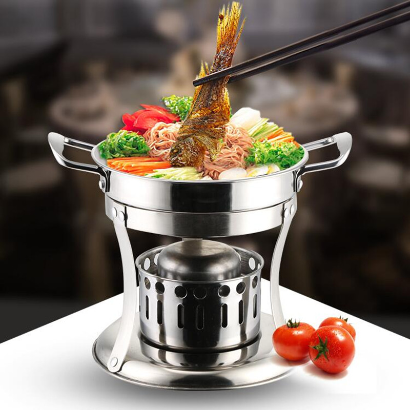 Household Steel Solid Alcohol Stove Multifunctional Liquid Hot Pot Multi Cooker For Outdoor Party Picnic Cafeteria 220v 600w 1 2l portable multi cooker mini electric hot pot stainless steel inner electric cooker with steam lattice for students