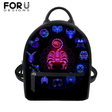 FORUDESIGNS 12 Constellations Print PU Backpack Female Backpacks Small School Bag Pack For Teenager Hip Pop Girl Daypack Mochila
