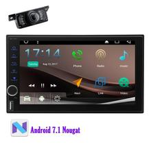 "Doubel din 7"" Android 7.1 Car Stereo GPS Navigation Unit Bluetooth in Dash Autoradio support Wifi OBD2 Headunit+Backup Camera"
