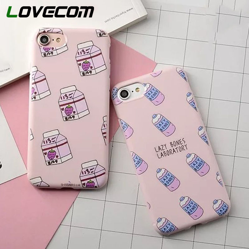 LOVECOM Fashion Colorful Korea Milk Bottle Case For iphone 6 6S Plus 7 7 Plus Phone Cases Soft Cute Strawberry Drink Cover