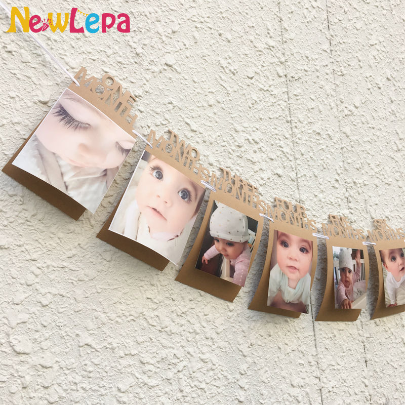 DIY Monthly Paper 1st One Year Photo Booth Birthday Banner String
