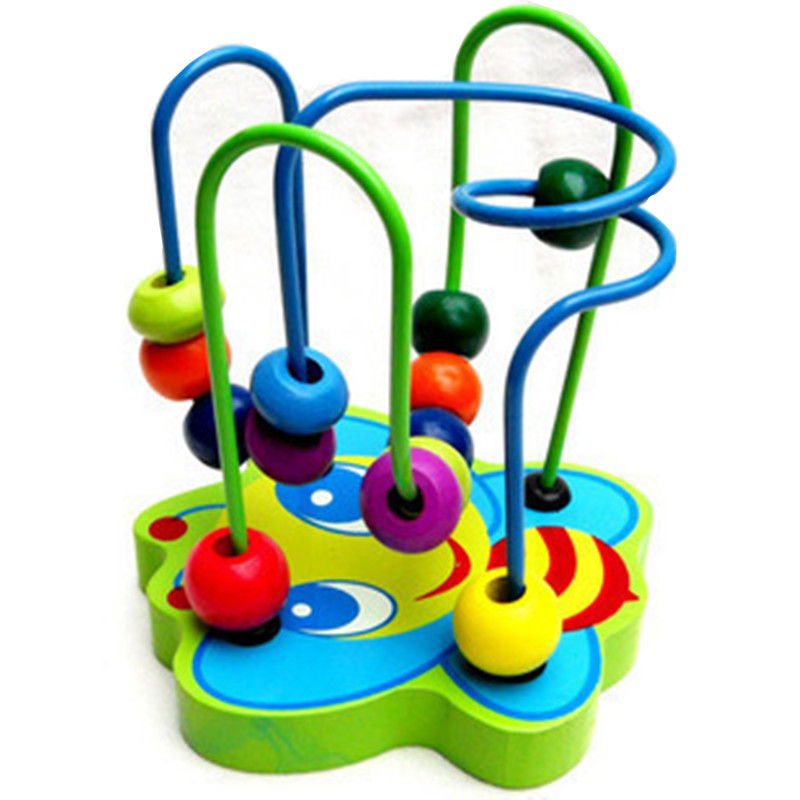Promotion 1PC New Baby wooden toy Mini around beads Wire maze Colorful Educational game Children Toys Free shipping CZ001 wooden magnetic labyrinth maze educational game toy