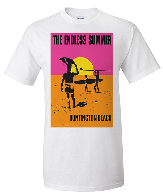 e74455bb4456 Brand T Shirt 2018 Fashion Gift Men Huntington Beach California The Endless  Summer Original Movie Poster O-Neck Short-Sleeve Tee