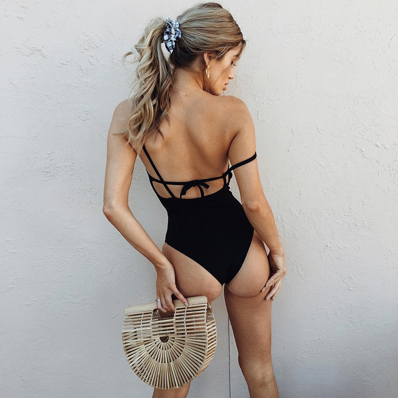 Liva Summer Skinny Spaghetti Strap Jumpsuit Rompers Sexy Women Backless Sleeveless Hollow Cross Bandage Lace Up Cami Bodysuits