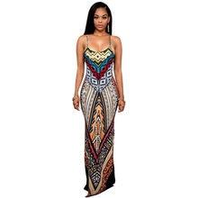 2018 New arrival Sleeveless Open Back Two Front Splits Spaghetti Strap Slit  Design Printed Maxi Summer Dress For Women fe92fac79bf0