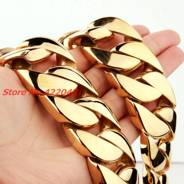 New Fashion Jewelry 31MM Super Heavy Thick Mens Chain Flat Round Curb Cuban Gold Color 316L Stainless Steel Necklace 28″ long