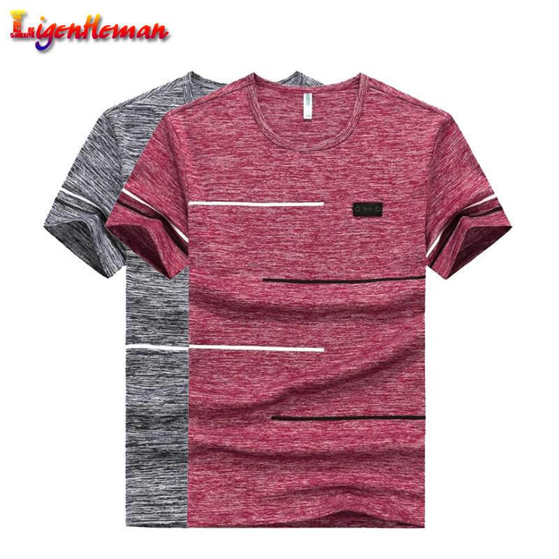 Plus Ukuran 9XL Musim Panas T Kemeja Pakaian Poliester Pria Tshirts Bernapas Lengan Pendek Lembut Nyaman Strip Top Tee O-neck