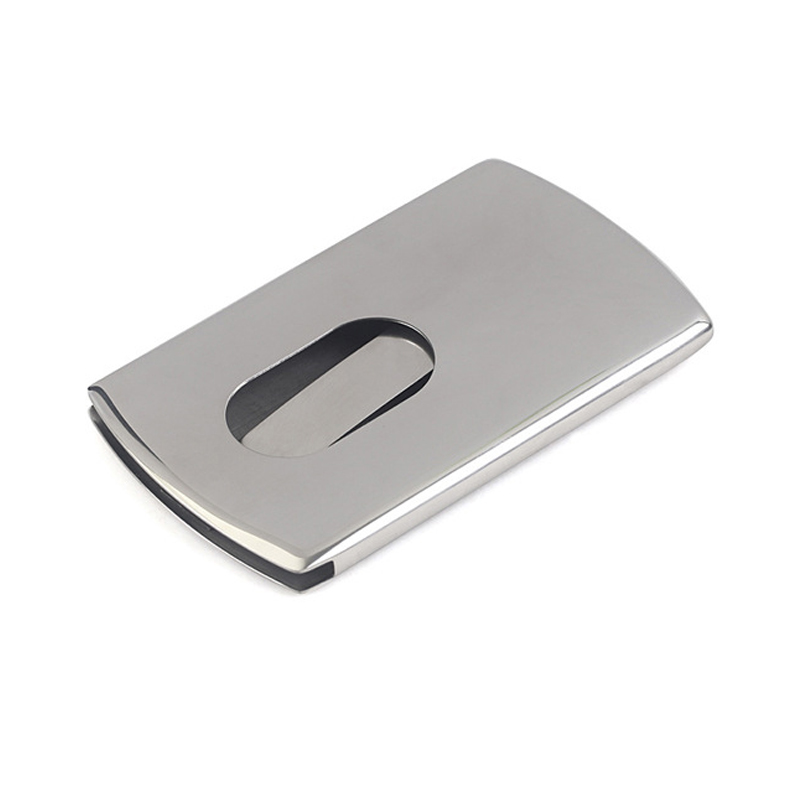 Portable Hand push type Stainless Steel Business card holder wallet ...