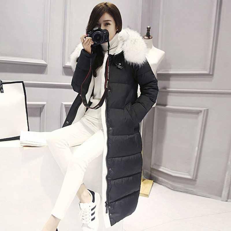 厚手ストレートジッパー付きロング丈中綿コート 2019 パーカー基本冬フグダウンジャケット女性プラスサイズ付きダウンコート毎日防風暖かい生き抜く