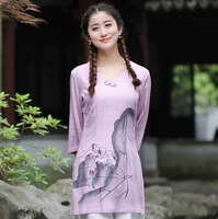 New Arrival Pink Women S Spring Summer Cotton Linen Shirt Printed Long Blouse Chinese Style Clothing