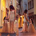 Luxo De Pérolas Longo Frisado Sereia Mãe da Noiva Vestidos de Festa Vestido de Noite Formal Querida Crepe de Champanhe Para O Casamento