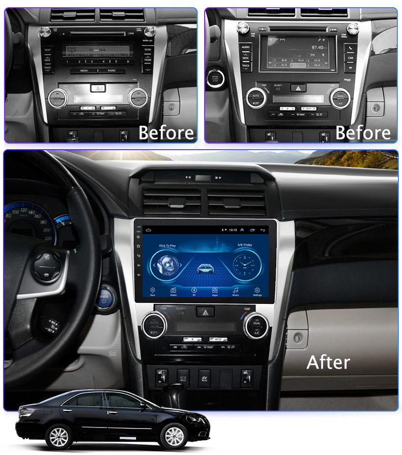 Super Slim Touch Screen Android 8.1 GPS Navigation for toyota Camry 2012 2013 2014 headunit tablets Stereo Multimedia Bluetooth