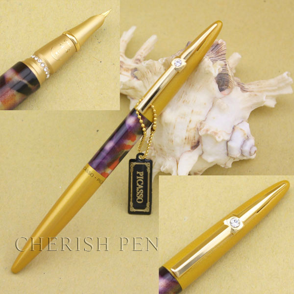 Picasso 988 Luxury Commemorative Warsaw Set Auger Golden Flower Ink/Metal/Brand/Gift/Fine/Fountain Pen Free Shipping Pens hero 310b metal fountain pen