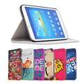 Fashion Painted Flip PU Leather For Samsung Galaxy Tab 3 T110 T111 T113 T116 7.0 inch Tablet Smart Case Cover + Gift