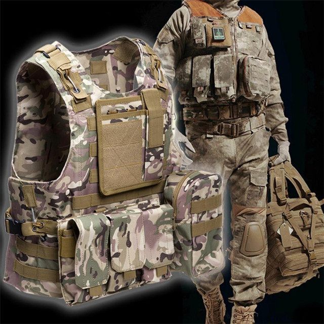 US $28 65 15% OFF|Aliexpress com : Buy Military Tactical Vest Army Airsoft  Molle Vest Combat Hunting Vest with Pouch Assault Plate Carrier CS Outdoor