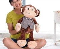 Чучело обезьяны игрушки огромный 85 см джентльмен обезьяна плюшевые игрушки Рождественский подарок s0787