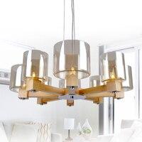 Solid Wooden LED pendant lights restaurant wooden support smart living room study lighting 4/6/8 heads Pendant Lights ZA