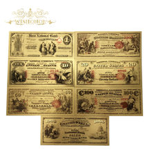 цена на 7pcs/lot Nice 1875 Year American Banknotes 1 5 10 20 50 100 1000 Dollar Banknote in 24k Gold Plated Fake Paper Money For Gifts