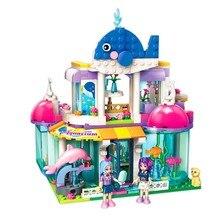 2012 327Pcs City Girls Princess Blue Whale Aquarium Model Building Block Toys For Children Compatible With Legoings