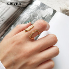 ZJSVER Korean Jewelry 925 Sterling Silver Rings Golden Retro Simple  Human Face Adjustable Women Ring For Party Or Festival Gift zjsver 925 sterling silver jewelry rings classic simple infinity chain glossy adjustable ring for women girls party or festival