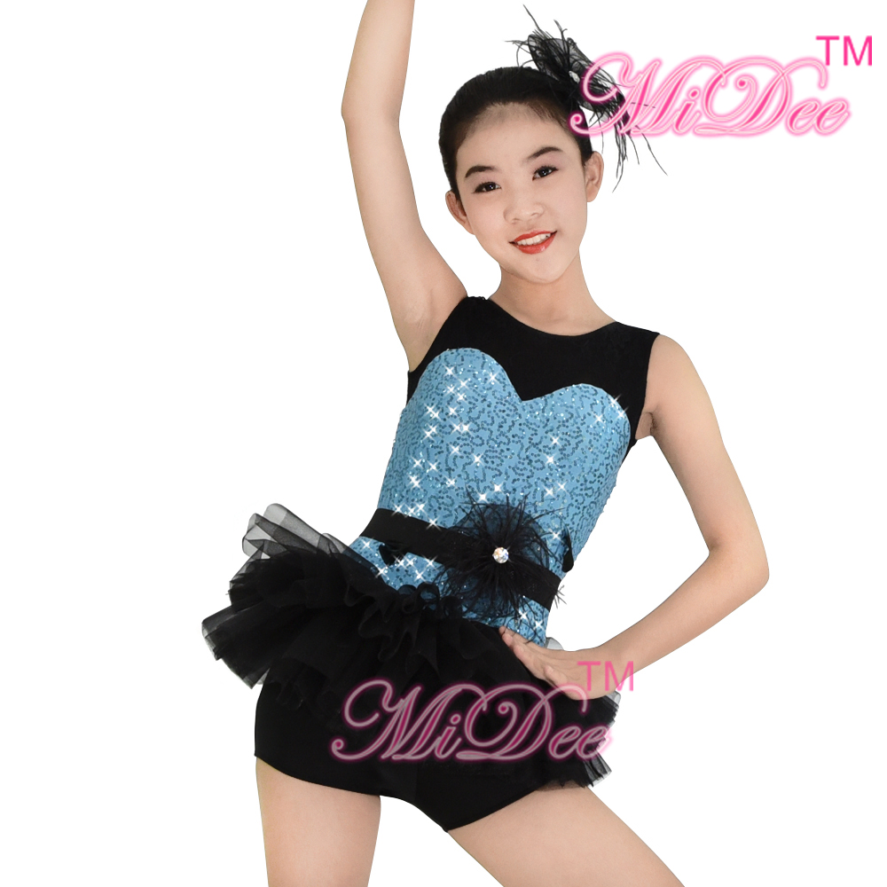 Leotard Sequins Jazz Dance Costumes Hip Hop Dance Costumes Girls Ballet Tutu Dress Stage ...