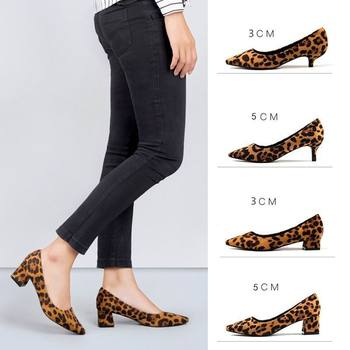 ERRFC New Arrival Womens Fashion Pumps Shoes Pointed Toe Leopard Print High Heels Shoes Sexy Woman Flock Office Shoe 3cm 5cm 7cm