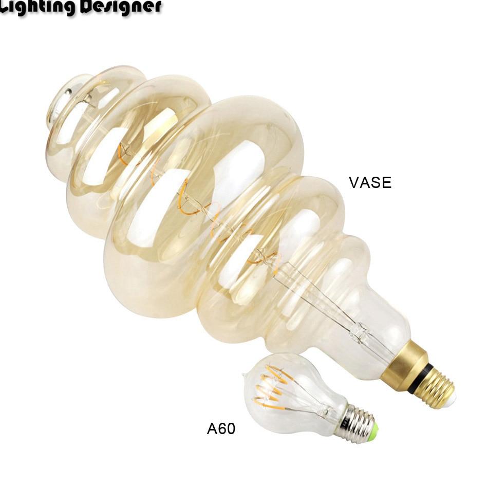 Grande taille ampoule dimmable Edison ampoule E27 doux LED Filament Vintage lampe à LED grand hamburger décor ampoule 6 W 220 V lumière blanc chaud - 5