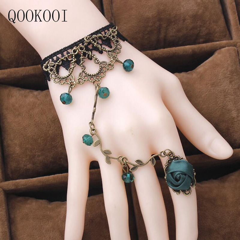 QOOKOO I Retro Vintage Lace Finger Bracelet Gothic Rose Flower Black Wrist Accessories Hand Chain Bracelets Punk Vampire Female