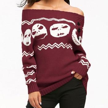 Winter warm womens Skull Off Shoulder Casual sweater