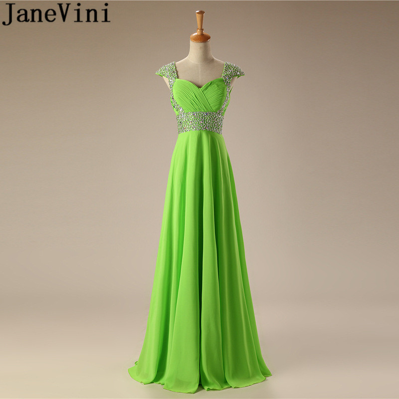 JaneVini 2018 Stylish Green Bridesmaid Dresses Long Luxury Beaded Sequins Cap Sleeve Chiffon Damigelle Prom Party Dress A-line