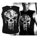 Lycra Camiseta Fresca The Punisher Skull Camiseta Delgada del O-cuello Negro Camisetas de Manga corta Camiseta de Algodón de Moda Para Los Hombres Envío Gratis