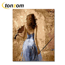 RIHE Mystical Woman Diy Painting By Numbers Abstract Autumn Leaves Oil On Cuadros Decoracion Acrylic Drawing Wall Art